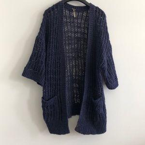 Free people navy open weave cardigan sweater